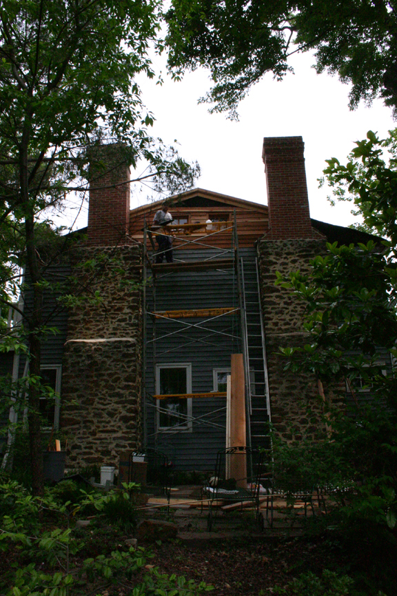 Mt. Hope: close up photo of chimney and sideing renovations