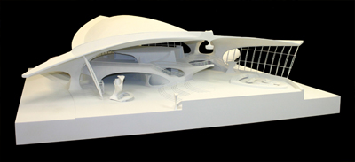 Saarinen TWA: photo of TWA terminal model front