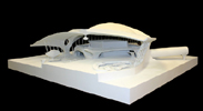 Saarinen TWA: photo of TWA terminal model side